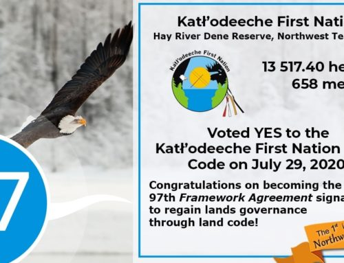 Kátł'odeeche First Nation VOTES YES! Now the 97th Framework Agreement signatory, and 1st in NWT, to ratify their land code!